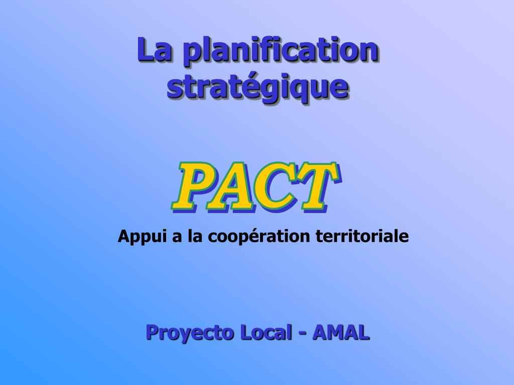 la planification strat gique l.