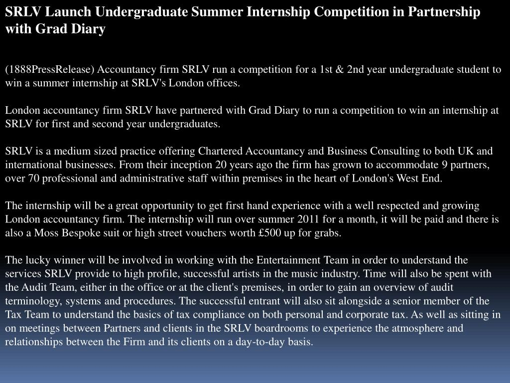 SRLV Launch Undergraduate Summer Internship Competition in Partnership with Grad Diary