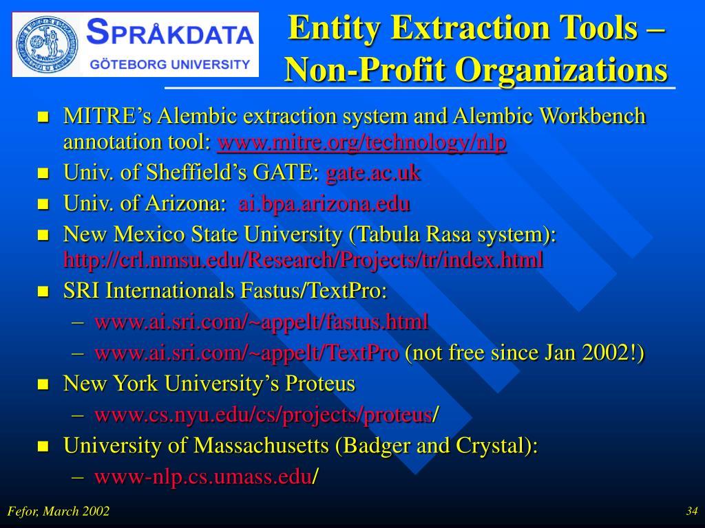 Entity Extraction Tools – Non-Profit Organizations