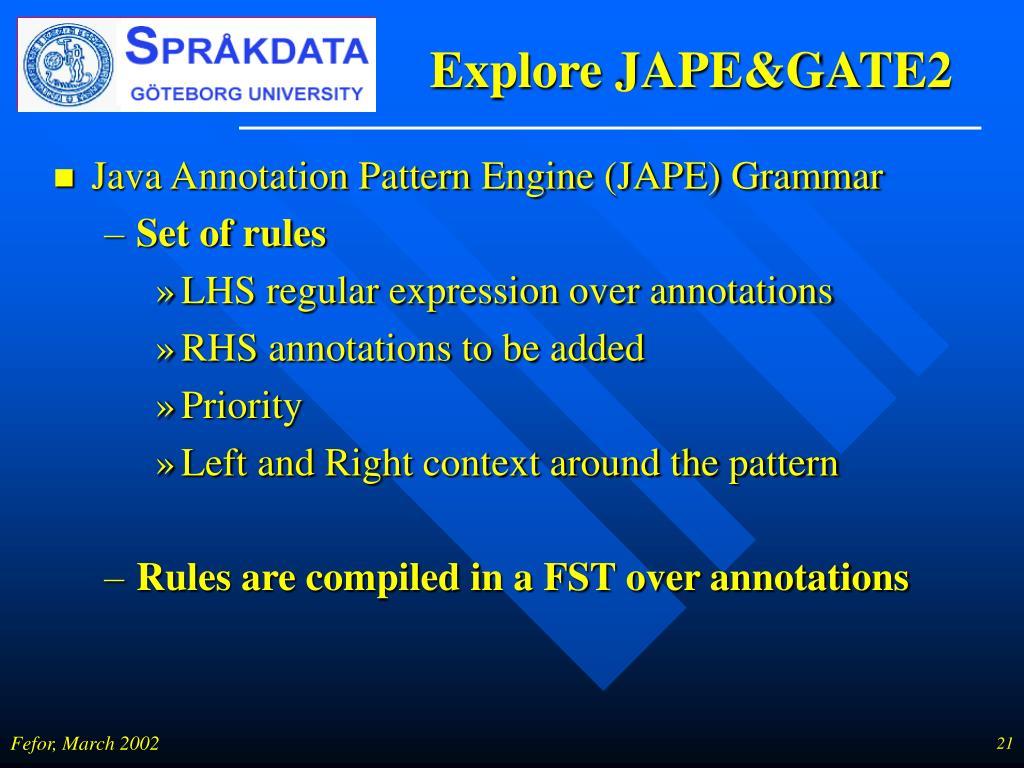 Explore JAPE&GATE2