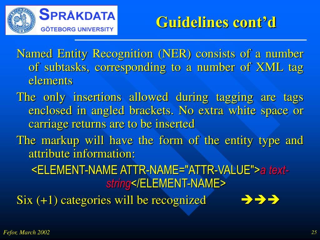 Guidelines cont'd