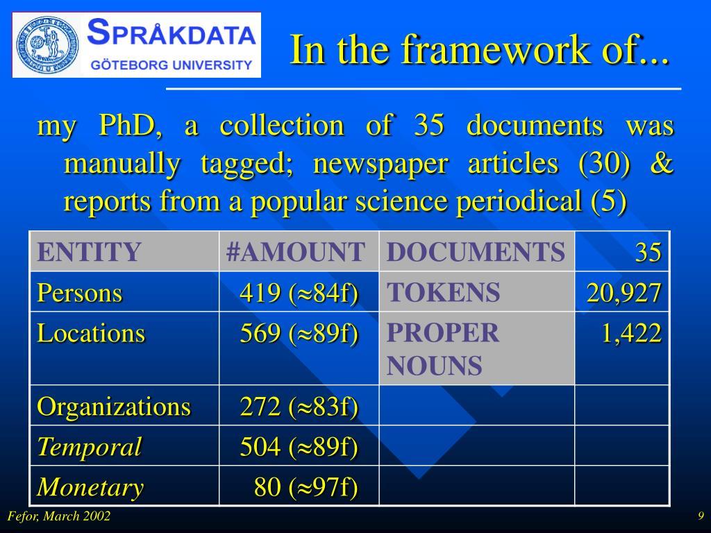 In the framework of...
