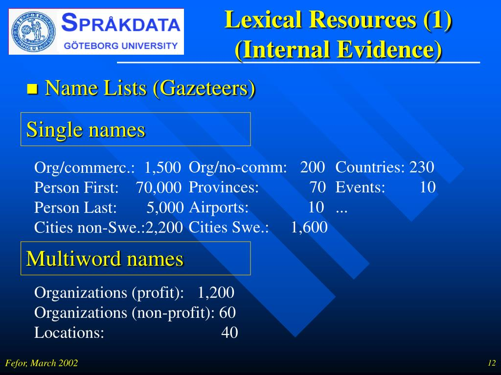 Lexical Resources (1) (Internal Evidence)