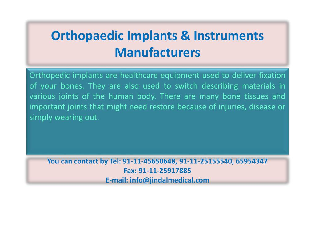 orthopaedic implants instruments manufacturers l.