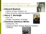 black composers of vocal instrumental spiritual arrangements