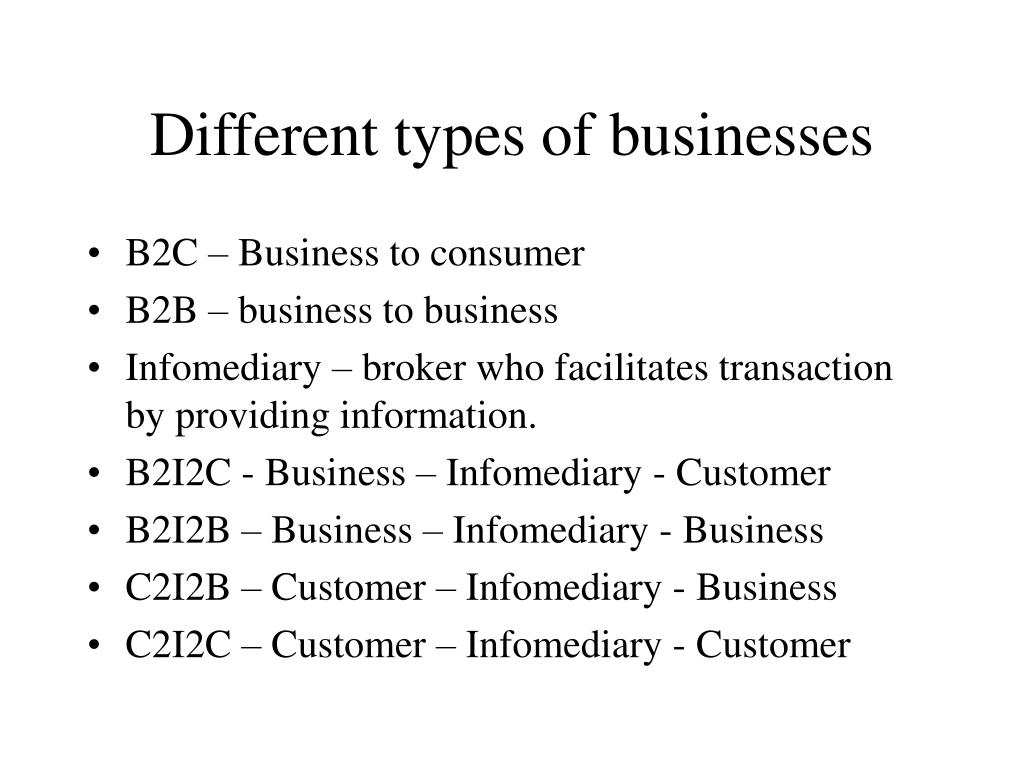 different types of businesses l.