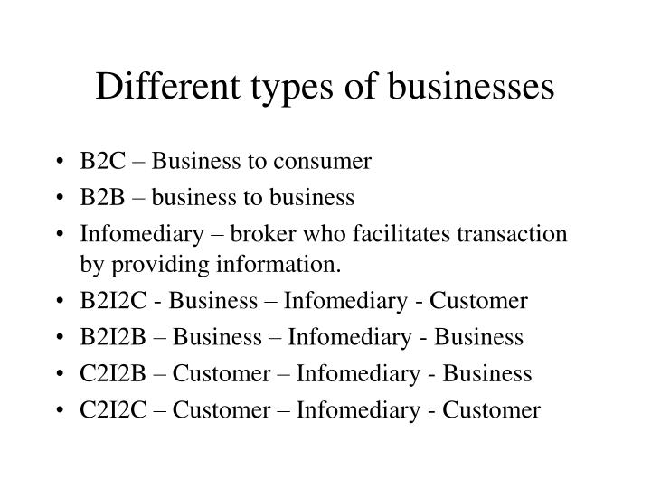 different types of businesses n.