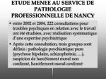 etude menee au service de pathologie professionnelle de nancy