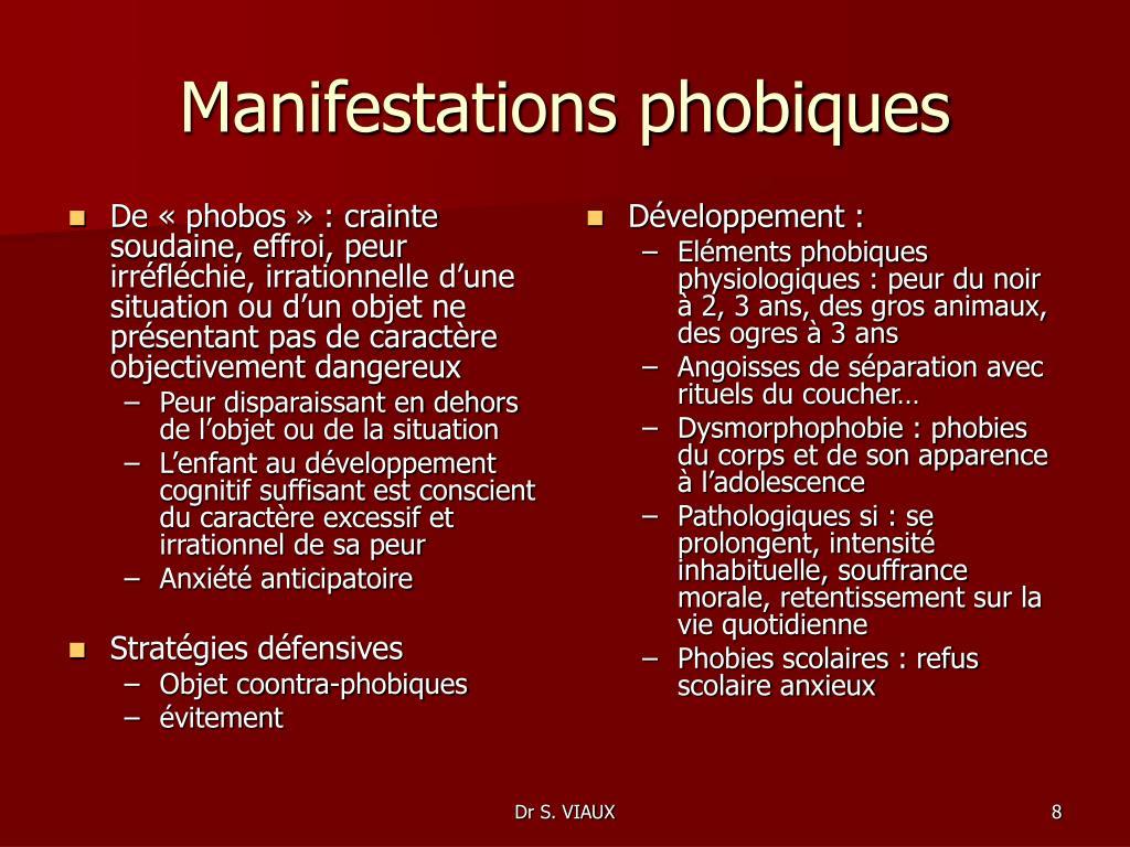 De «phobos»: crainte soudaine, effroi, peur irréfléchie, irrationnelle d'une situation ou d'un objet ne présentant pas de caractère objectivement dangereux