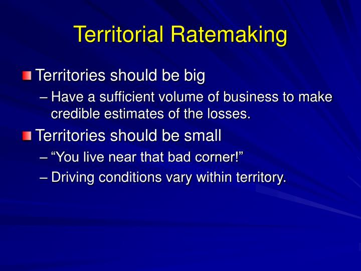 Territorial ratemaking