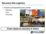 recovery site logistics