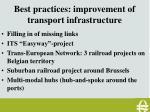 best practices improvement of transport infrastructure