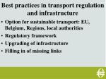 best practices in transport regulation and infrastructure