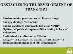 obstacles to the development of transport