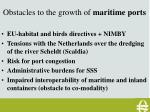 obstacles to the growth of maritime ports