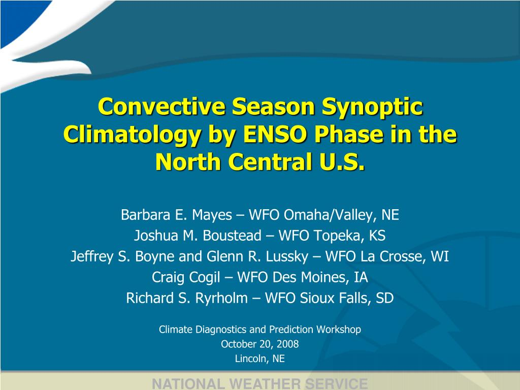 convective season synoptic climatology by enso phase in the north central u s l.