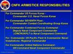 cnfk armistice responsibilities