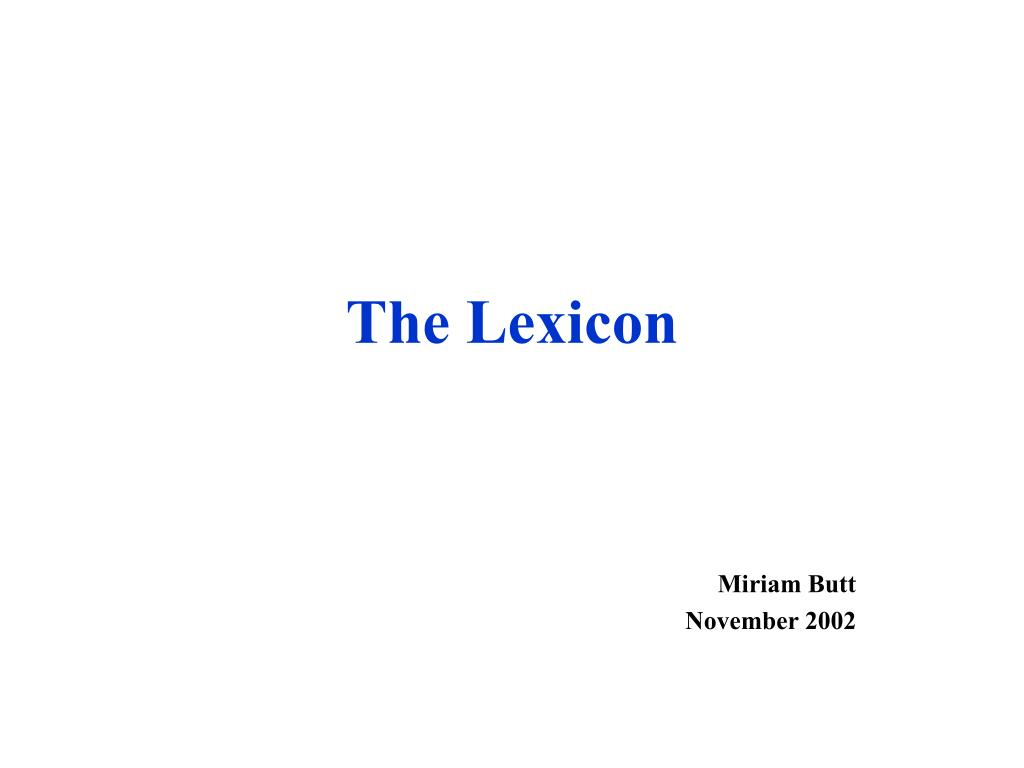 the lexicon l.