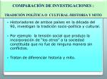 comparaci n de investigaciones tradici n pol tica o cultural historia y mito