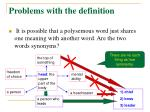 problems with the definition