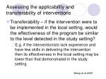 assessing the applicability and transferability of interventions89