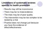 limitations of systematic reviews specific to health promotion
