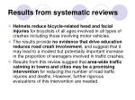 results from systematic reviews