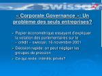 corporate governance un probl me des seuls entreprises
