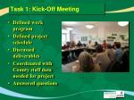 task 1 kick off meeting