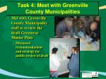task 4 meet with greenville county municipalities
