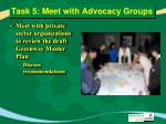 task 5 meet with advocacy groups