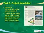 task 6 project newsletter