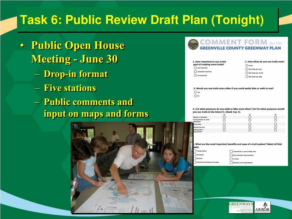 Task 6: Public Review Draft Plan (Tonight)