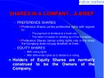 shares in a company a brief