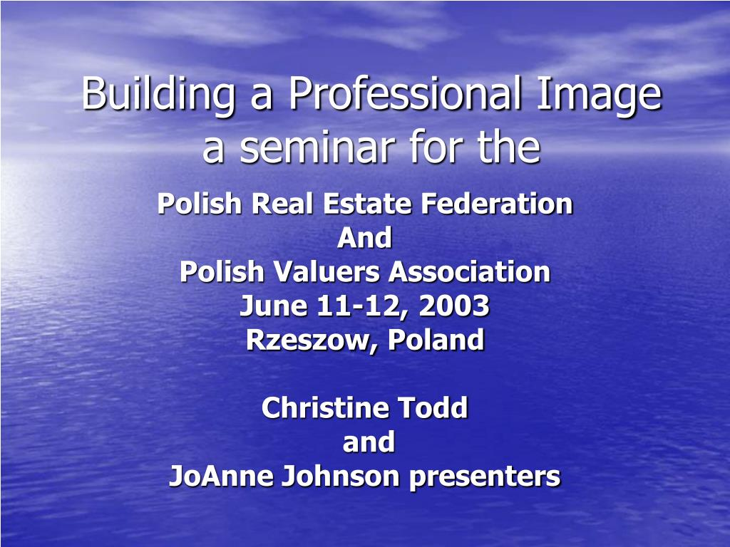 building a professional image a seminar for the l.
