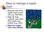 ways to manage a supply chain