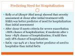 predicting need for hospitalization