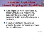 issues and applications internet shopping with disabilities
