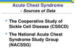 acute chest syndrome sources of data