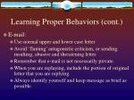 learning proper behaviors cont