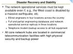 disaster recovery and stability