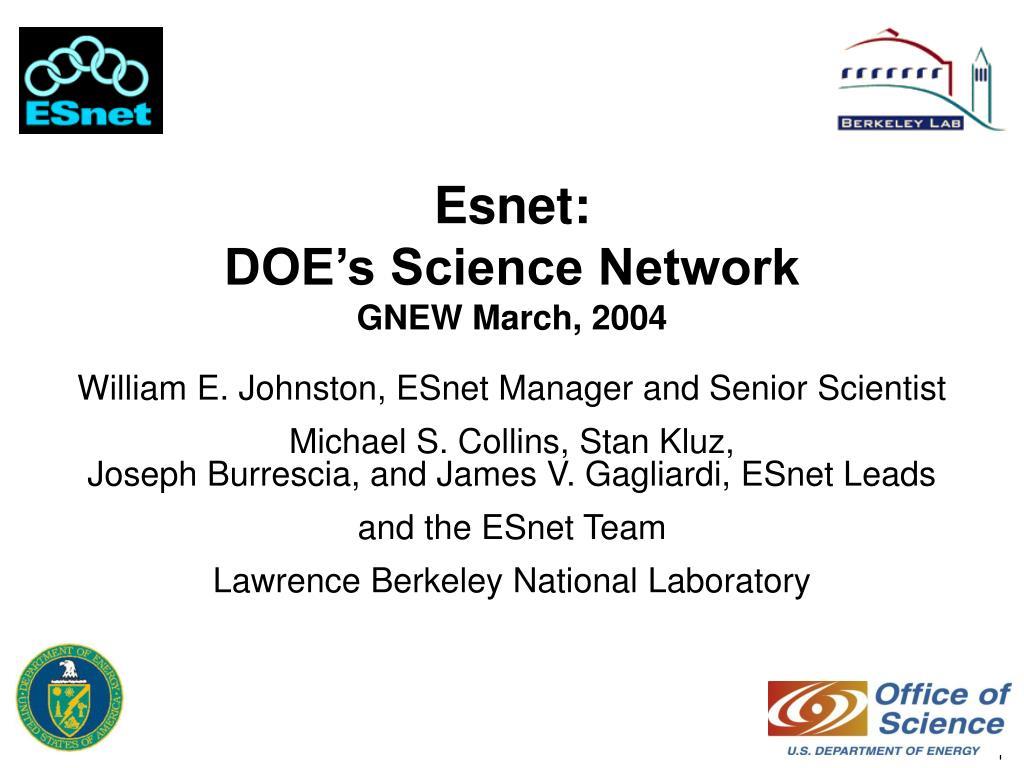 esnet doe s science network gnew march 2004 l.