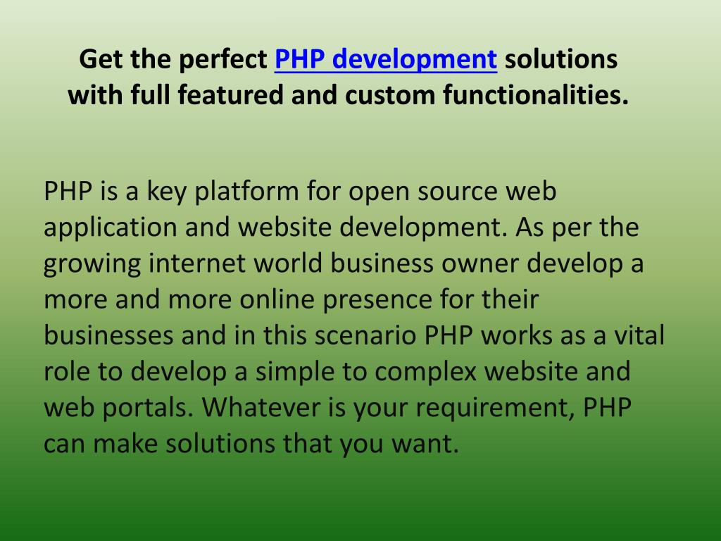 get the perfect php development solutions with full featured and custom functionalities l.