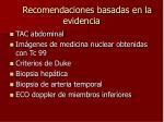 recomendaciones basadas en la evidencia