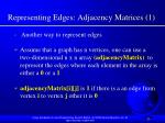 representing edges adjacency matrices 1