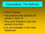 episcopalian the defense