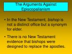 the arguments against episcopalianism