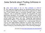 some details about finding collisions in sha 1