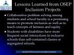 lessons learned from osep inclusion projects