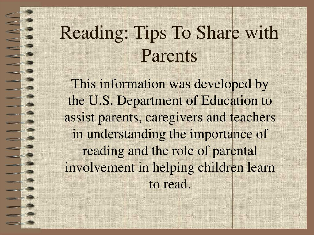 Reading: Tips To Share with Parents